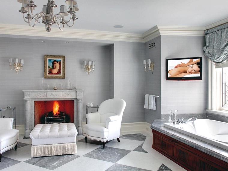 tipos de chimeneas ideas madera pared gris bano sillones blancos