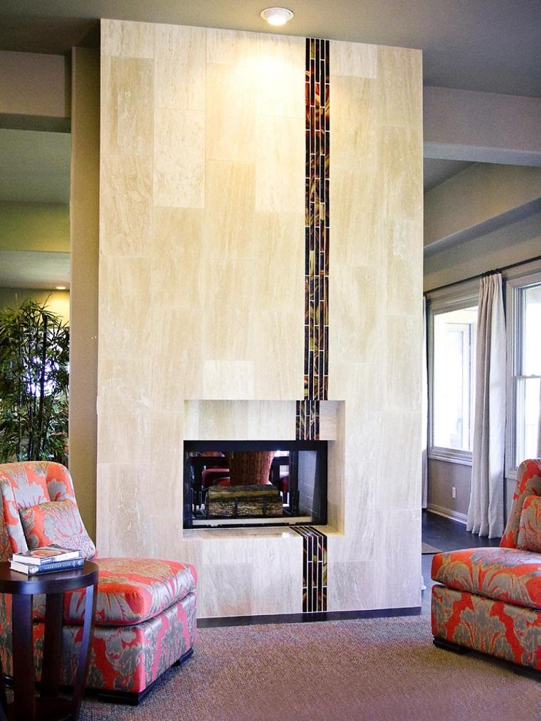 tipos de chimeneas madera pared hormigon ideas