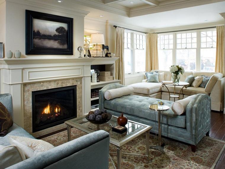 tipos de chimeneas madera salon elegante sofa blanca ideas