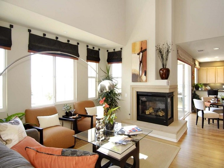 tipos de chimeneas salon estilo contemporaneo ideas