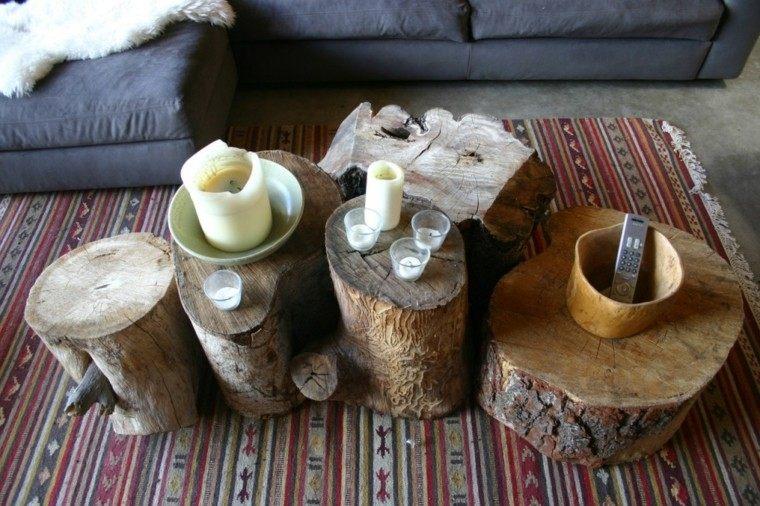troncos arboles mesa de salón