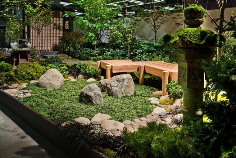 valla banco madera plantas jardin zen ideas