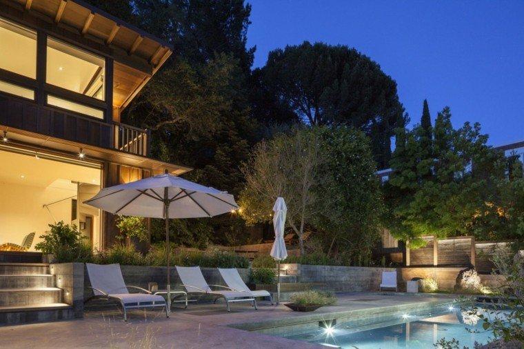 valla hormigon madera casa jardin piscina ideas