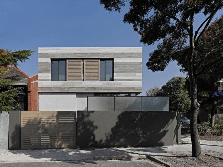 valla hormigon negra protege casa moderna ideas