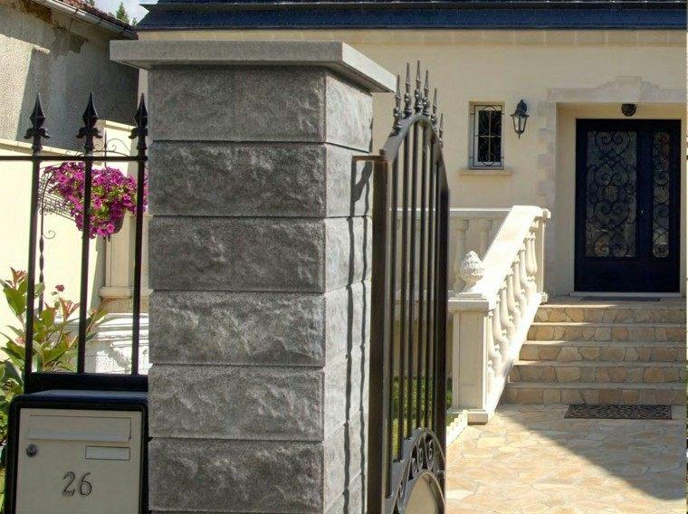valla metalica acero negro columna piedra ideas