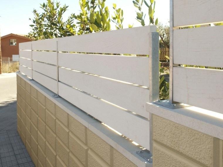 valla madera laminas blancas ladrillo amarillo ideas