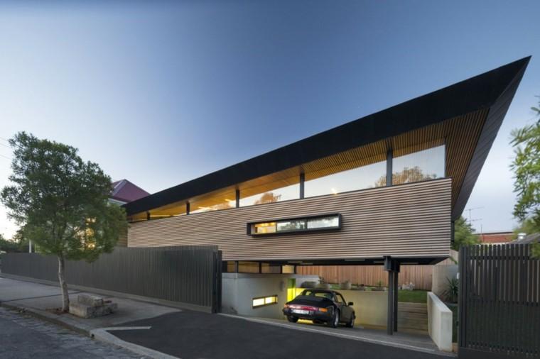 valla metalica negra casa lamina madera preciosa ideas