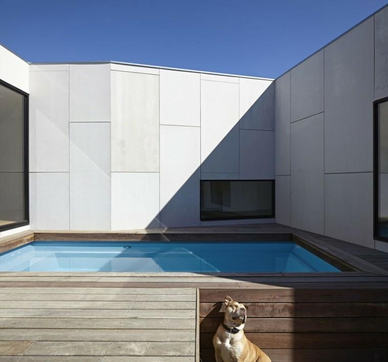 vallas altas hormigon blancas jardin piscina madera ideas