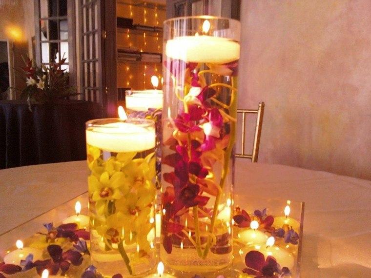 vasos tubo velas flores deco