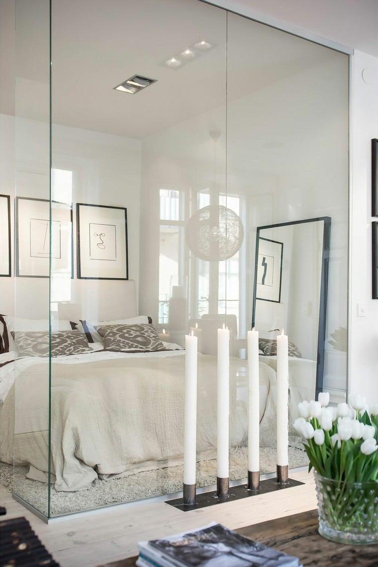 velas blancas decorando aparatamento pequeno dormitorio ideas