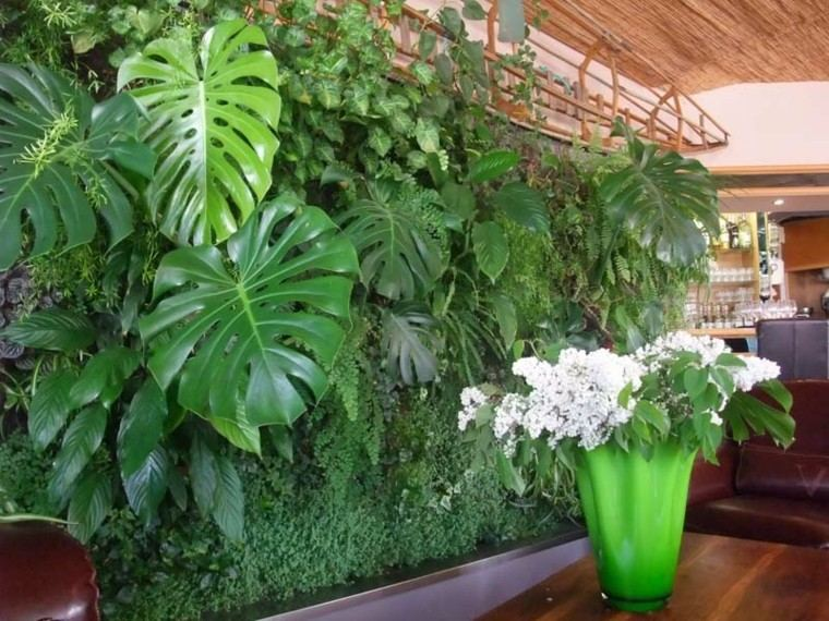 verde pared muro vegetal tropical