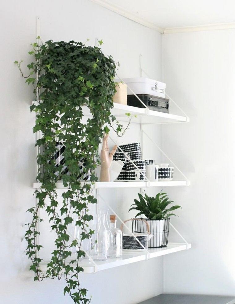 vertical cascada plantas blanco estante