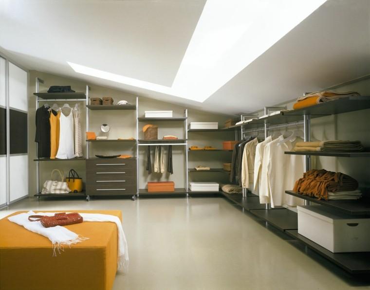 vestidor moderno amarillo estantes mueble