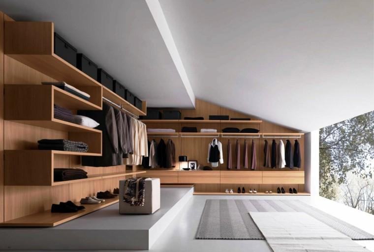 vestidor moderno madera casa iluminacion