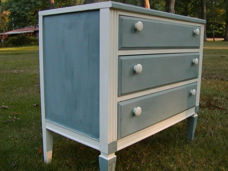 vestidor madera pintado azul blanco