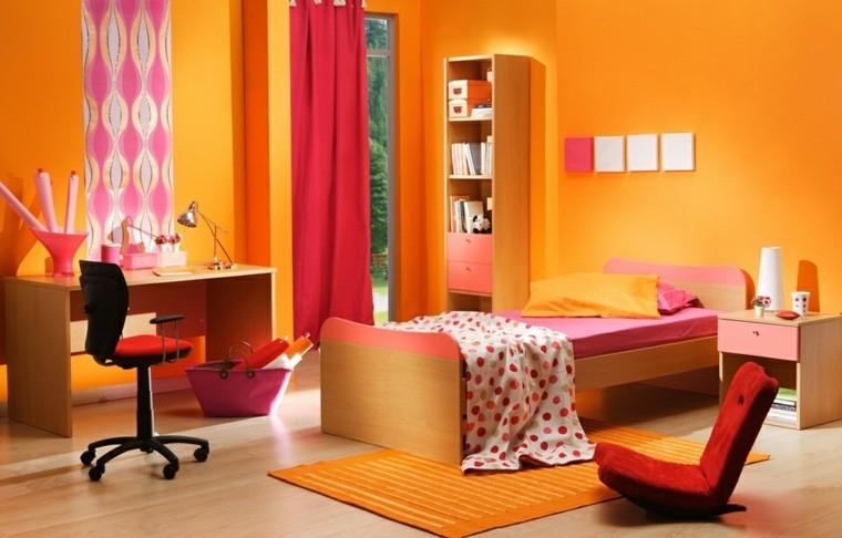 vibrante naranja decoracion niños cortinas