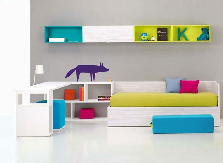 Dormitorio infantil minimalista saca partido a tu espacio for Pegatinas para muebles infantiles