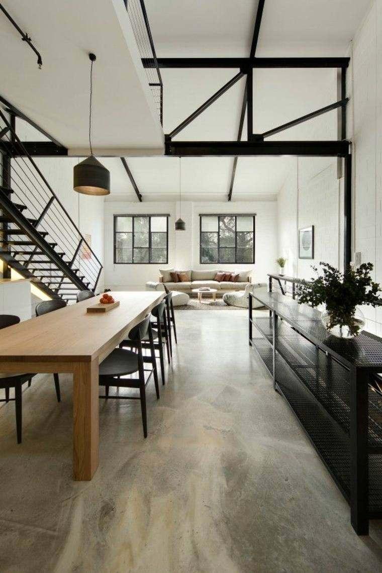 salon mesa madera escaleras suelo
