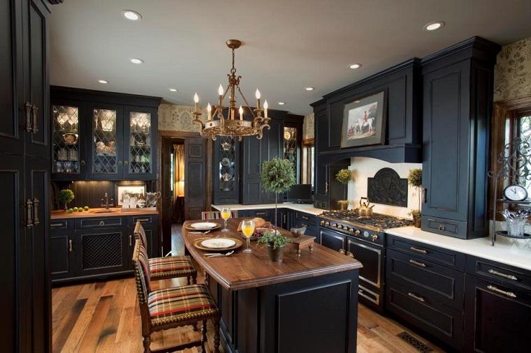 Magia negra en la cocina 50 ideas de muebles en negro for Kitchens by ken kelly