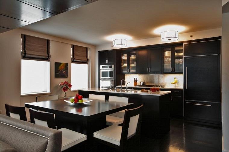 Ken Kelly mesa negra cuadrada cocina moderna ideas