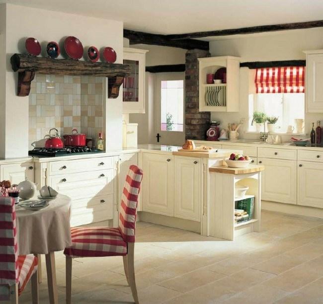 diseo de cocina tradicional rstica accesorios cocina cortina cuadros