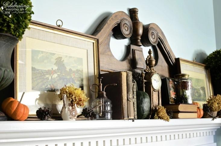 adornar estante chimenea calabazas