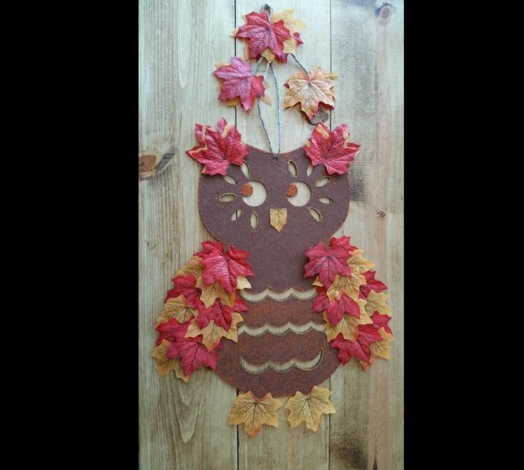 adorno otoño buho hojas de arboles