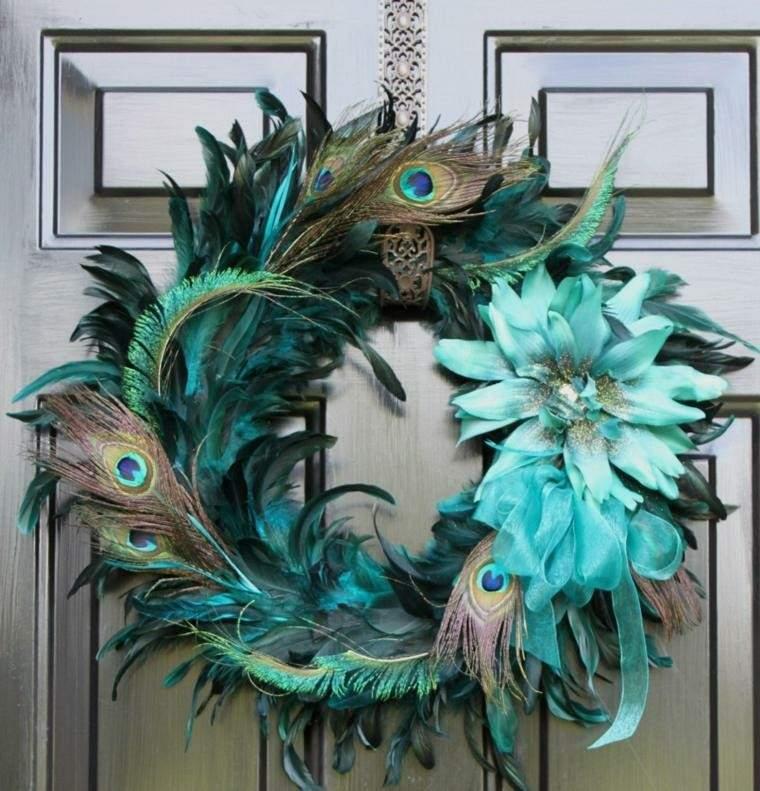 adorno guirnalda pluma pavo real