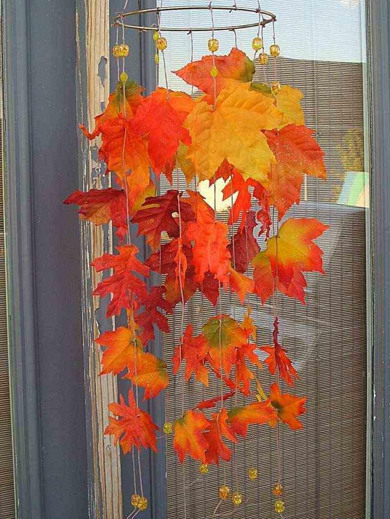 adorno hojas secas color naranja