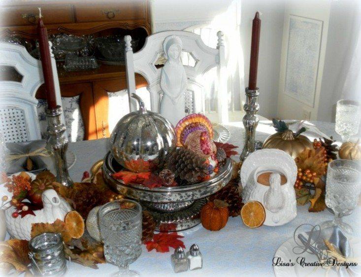 centro mesa calabaza plata
