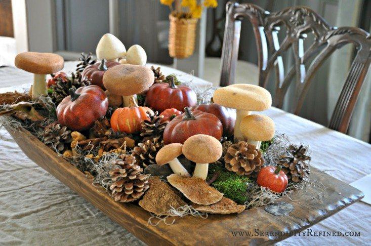 Calabaza y pi as de pino como decoraci n de oto o for Setas decoracion