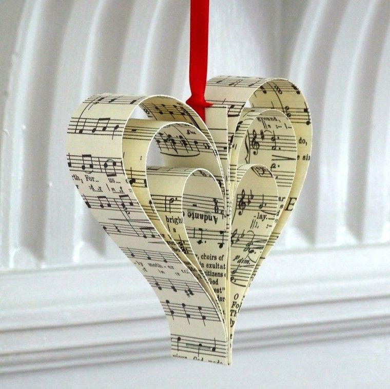 adorno manualidades de navidad corazon partituras