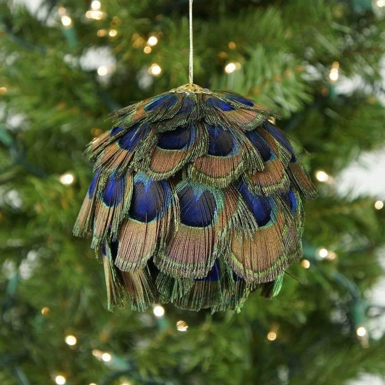 adorno colgante plumas pavo real