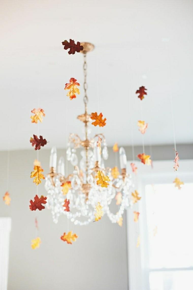 adornos colgantes hojas de arboles secas