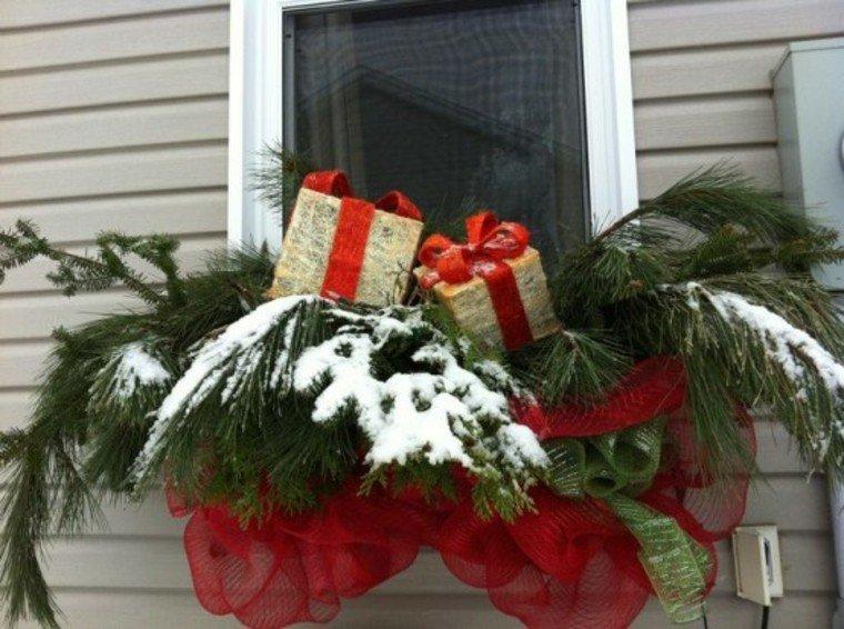 adornos de navidad flores plantas ventana