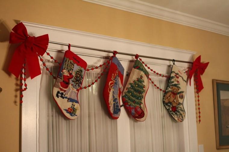 adornos de navidad madera ventanas interior