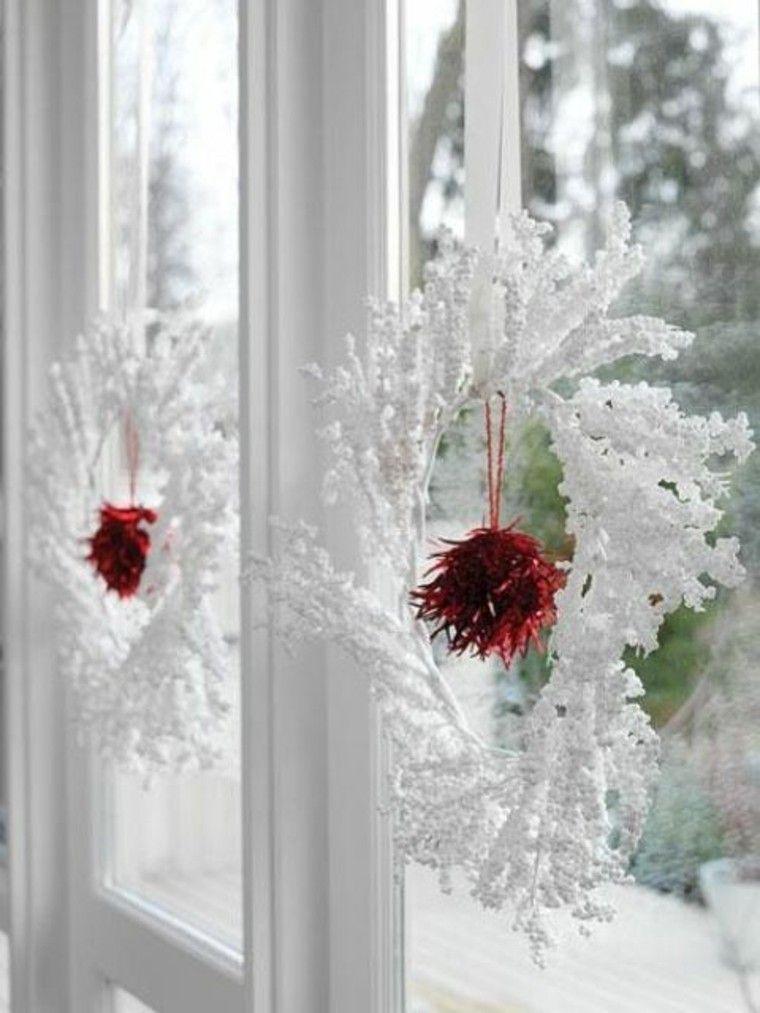 adornos de navidad ventanas blanco rojo