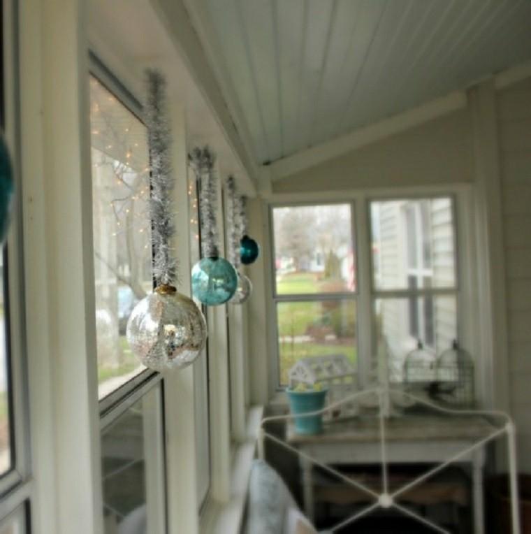 adornos de navidad ventanas plateado