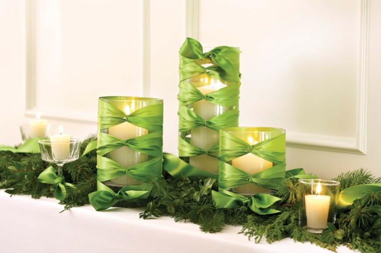 adornos navidad color verde velas