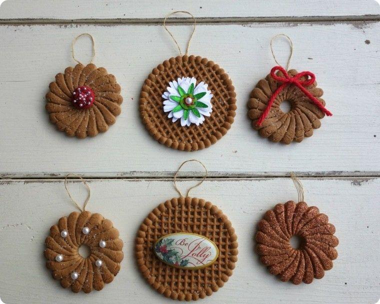 adornos navideos galletas redondas flores