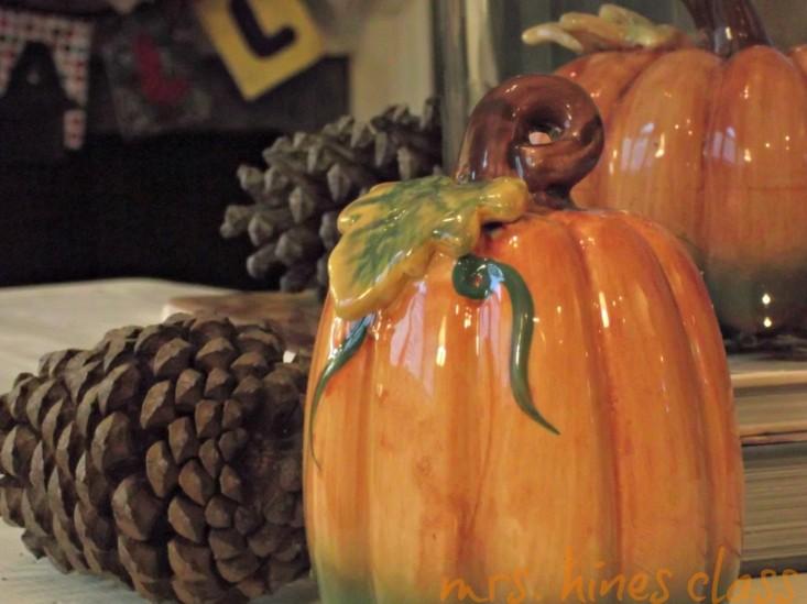 adornos calabazas ceramica piñas pino
