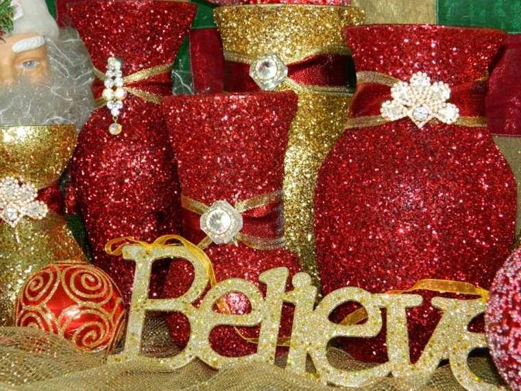 adornos navidad mucha purpurina roja