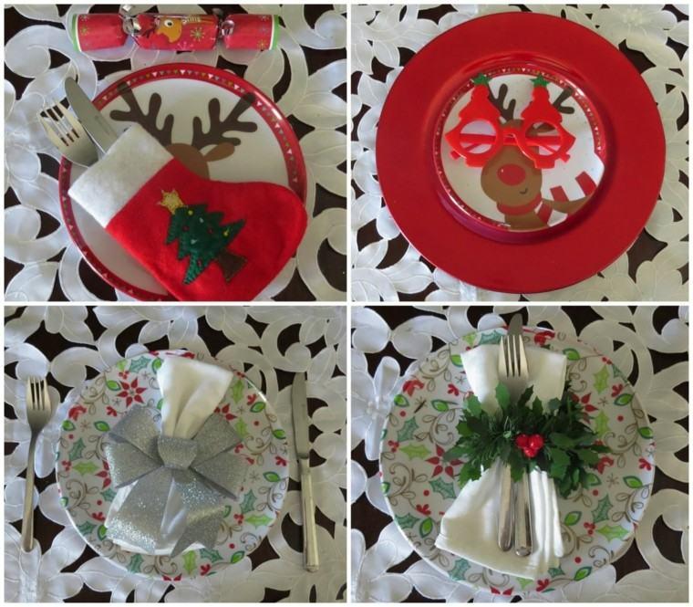 adornos navideños platos mesa renos