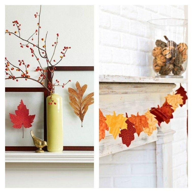 Hojas de arboles secas para adornos de oto o 50 ideas for Decoracion con hojas secas
