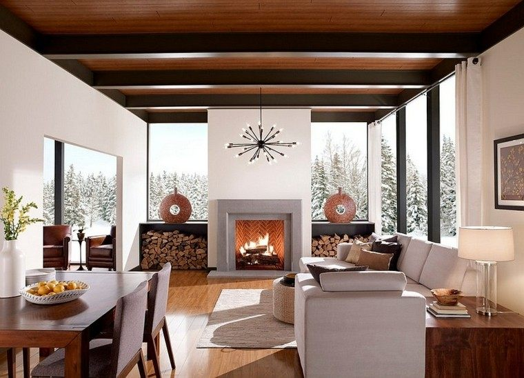 agradable salon diseño madera campo