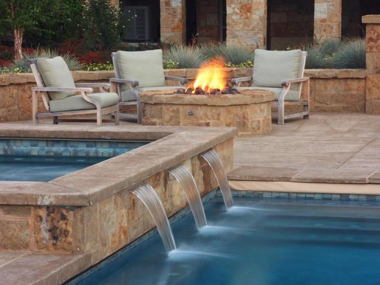 agua fuego jardin moderno piscina sillones comodos amplio ideas