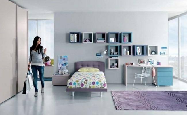 habitaciones infantiles alfombra morada chica morena