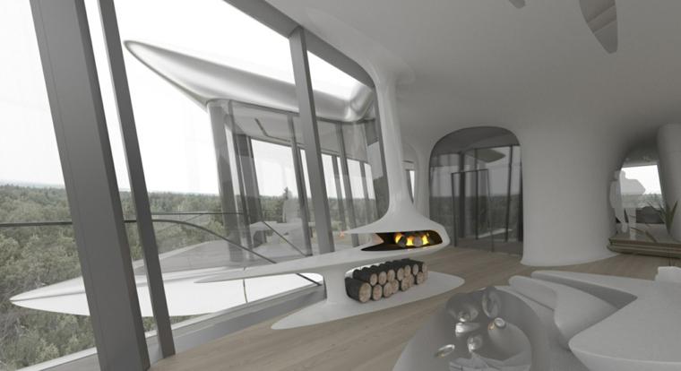 ambiente esferas terraza plateado futurista