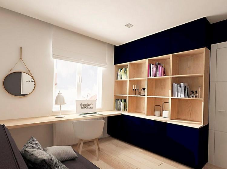 ambiente madera estante escritorio espejo