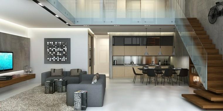 apartamentos tipo loft escaleras madera